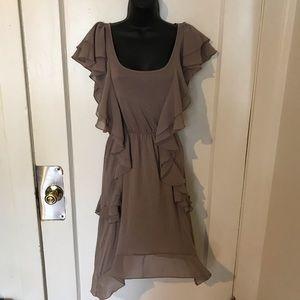 Tan ruffle shirt dress size s